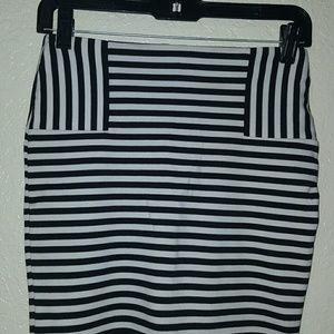 Black and white striped mini skirt